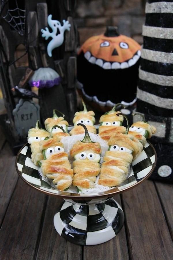 Snacks für Halloween Snacks für Kinder Gespenster basteln einfaches Fungerfood kalt