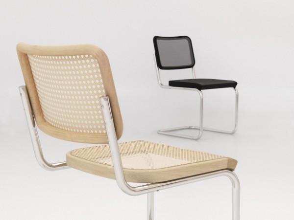 Stuhl in Beige und Schwarz - Wiener Geflecht