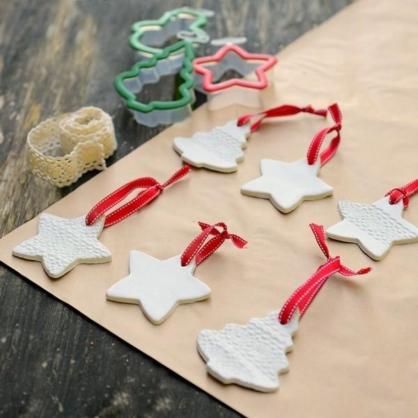 Weihnachtssterne basteln Fimo Ideen Ausstechformen