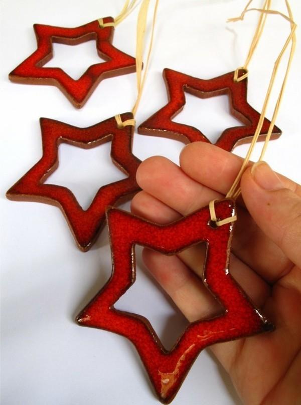 Weihnachtssterne basteln Fimo Ideen DIY Weihnachtsdeko roter Stern