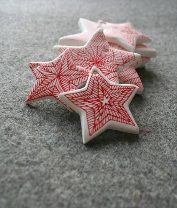 Weihnachtssterne basteln rot Fimo Ideen Weihnachtsdekoselber machen