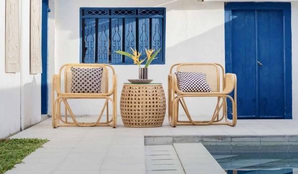 Wiener Geflecht - Stühle und Abstelltisch für die Veranda