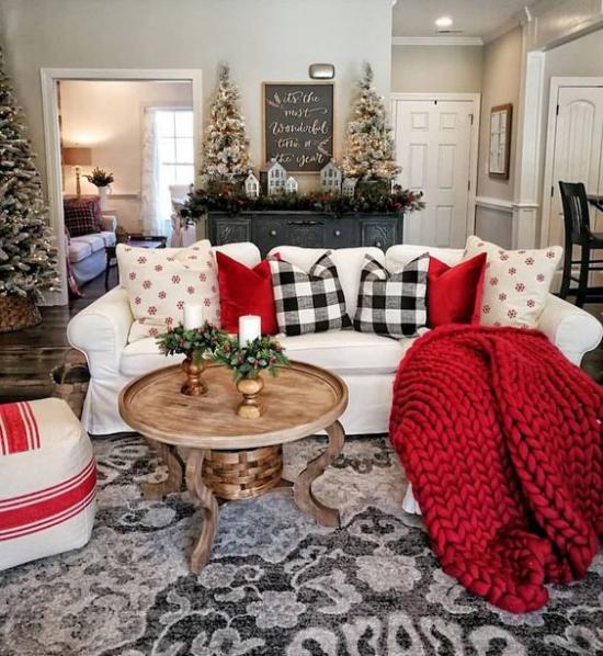 Winterdeko im Wohnzimmer rote Strickdecke rote und schwarz-weiß karierte Wurfkissen weißer Sofabezug Tannenbäume im Hintergrund