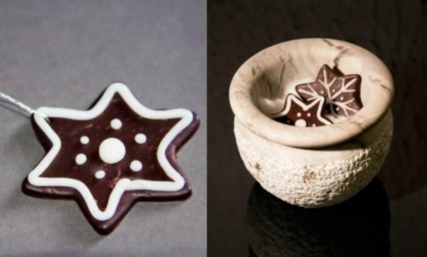 braune Weihnachtssterne basteln Fimo Ideen Lebkuchenstern