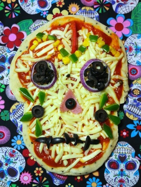 dia del muertos halloween pizza belag ideen