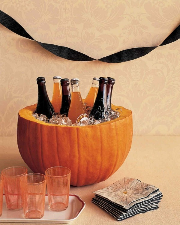 halloween ideen flaschenkühler kürbiss