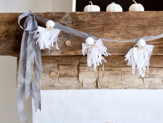elegante halloween girlande gespenster basteln