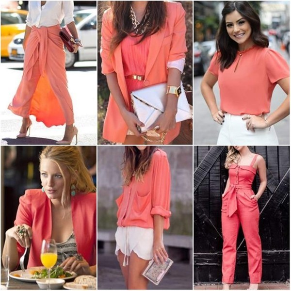 farbe coral mehrere Looks