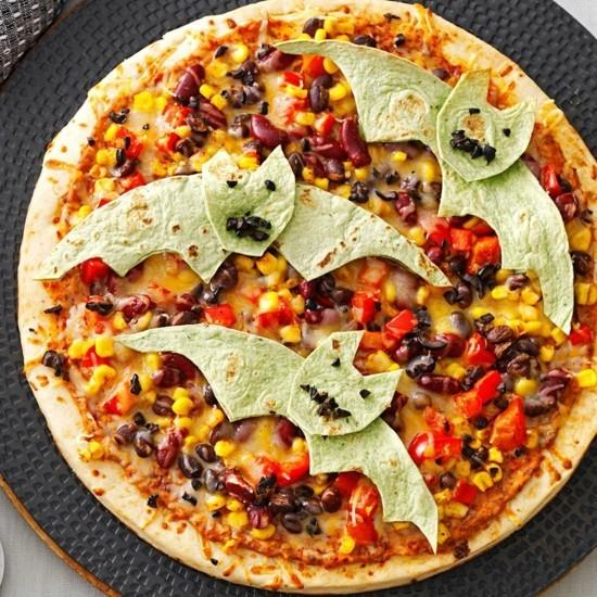 fledermäuse pizza belag ideen zu halloween mexikanisch