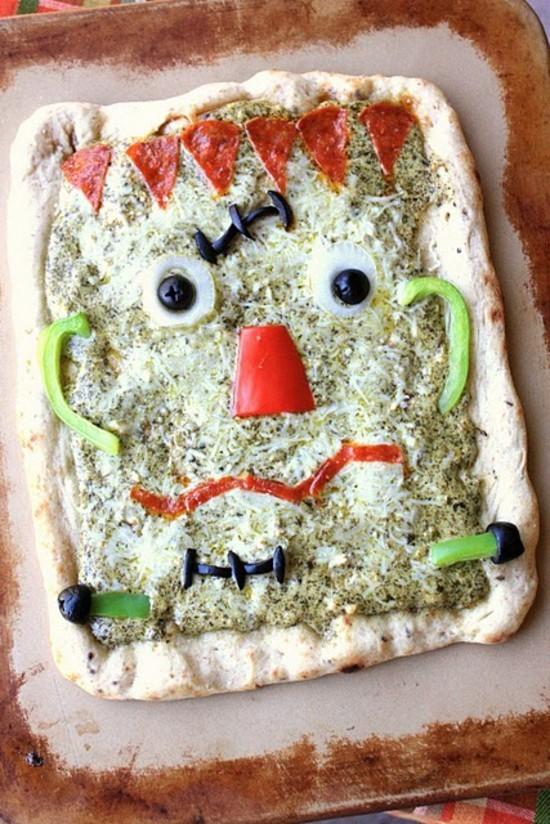 frankenstein pizza belag ideen zu halloween