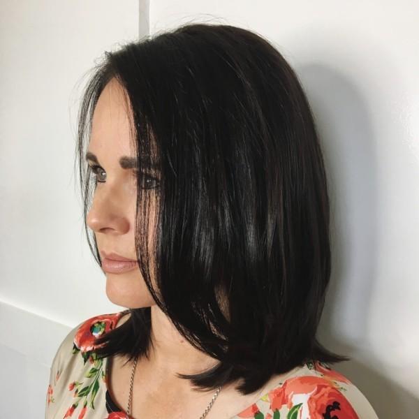frisuren dünnes haar - glanzvplles schwarzes Haar