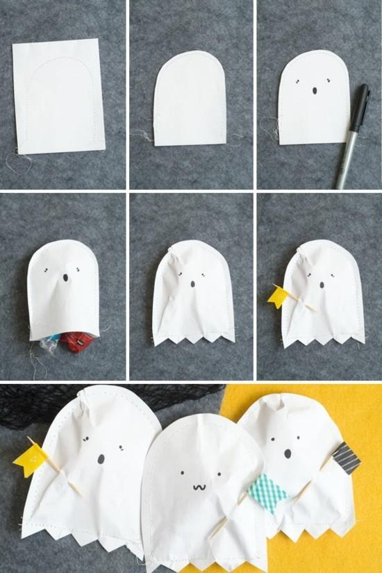 gespenster basteln aus papier für süßigkeiten
