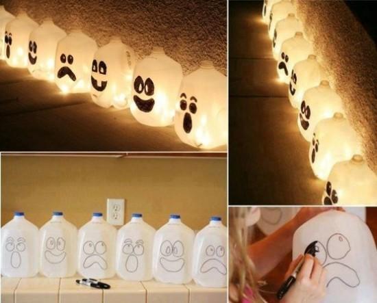 gespenster basteln aus plastikflaschen zu halloween
