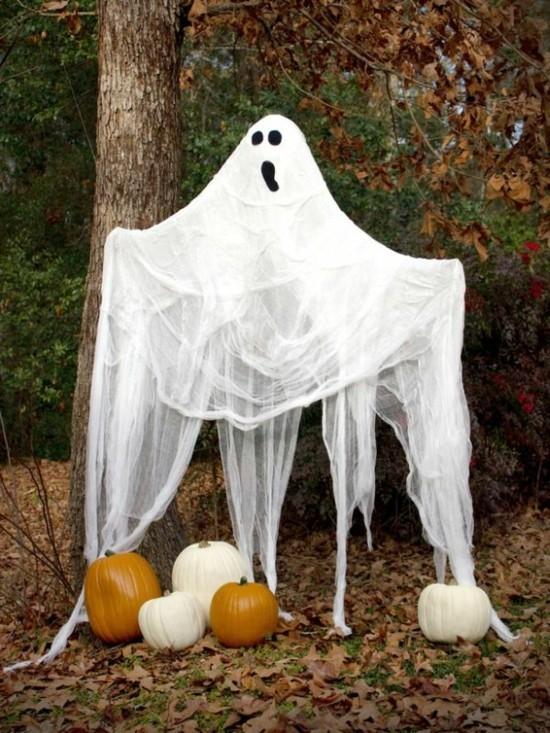 gespenster basteln aussen deko halloween