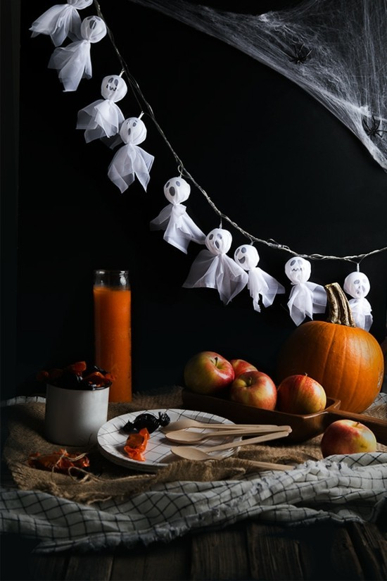 gespenster basteln girlande halloween deko