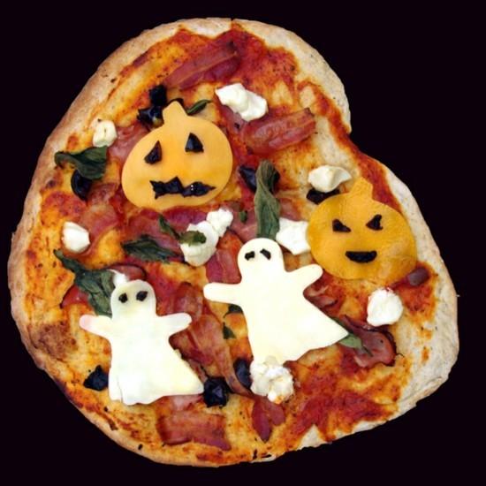 halloween pizza belag ideen gespenster