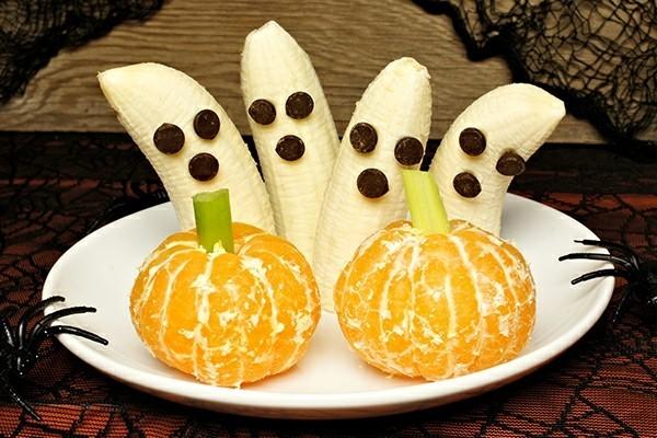 gesunde halloween ideen bananen gespenster