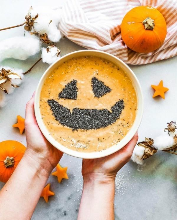 gesunde halloween ideen chiapudding kürbis