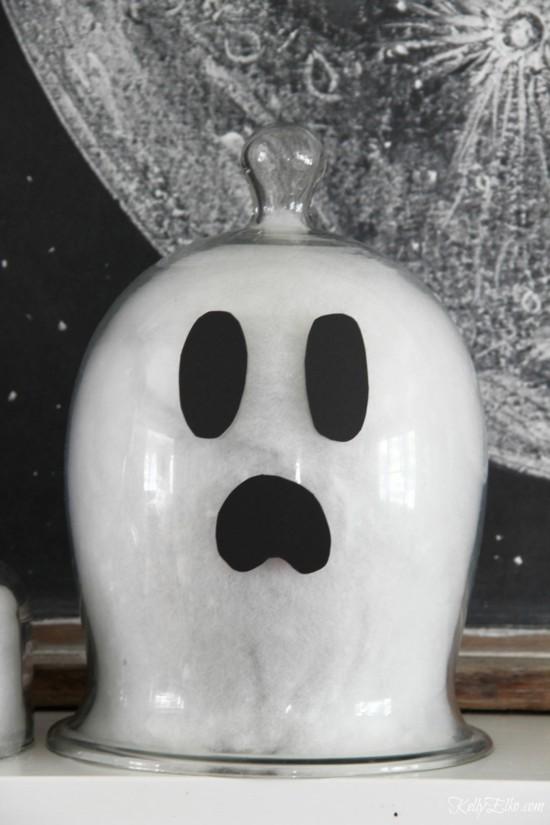 glasglocke gespenster basteln halloween deko idee