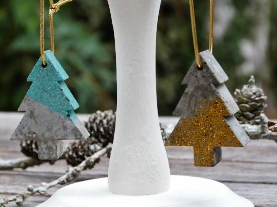 glitzernde tannenbäume weihnachtsdeko aus beton selber machen