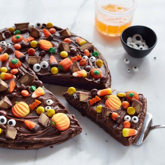 halloween browny pizza belag ideen