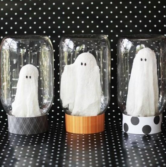 halloween deko gespenster basteln im glas
