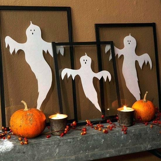 halloween gespenster basteln bilderrahmen
