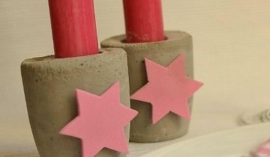 kerzenhalter aus beton zu weihnachten basteln
