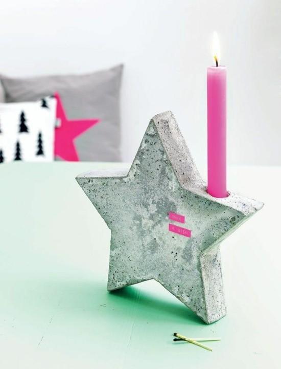 kerzenstäder stern beton deko zu weihnachten basteln