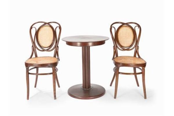 kombination zwei stühle und tisch - wiener geflecht