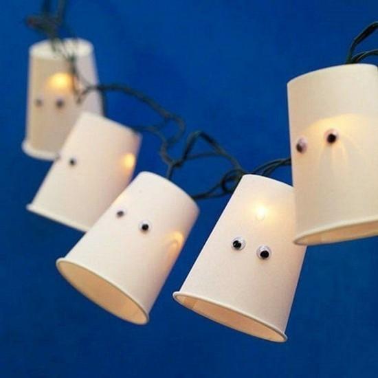 lichterkette gespenster basteln halloween deko ideen