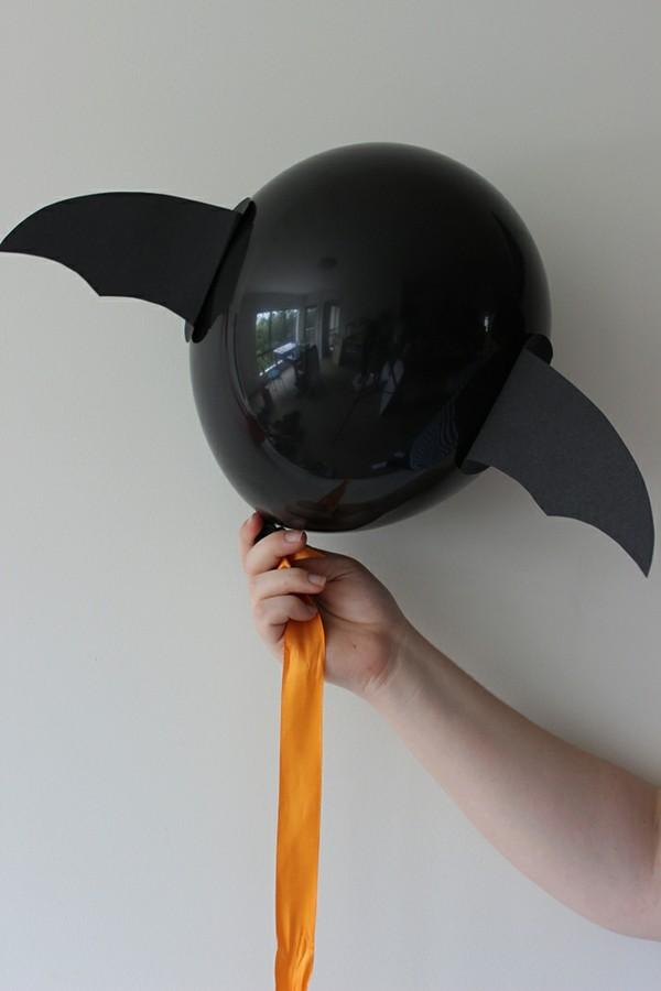 luftballons fledermäuse basteln zu halloween