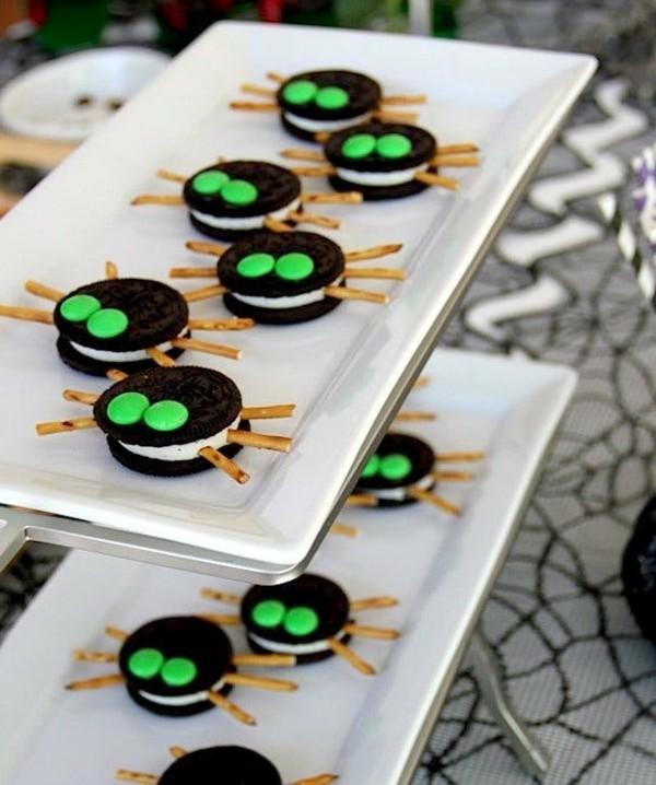 oreo mms spinnen als halloween snacks