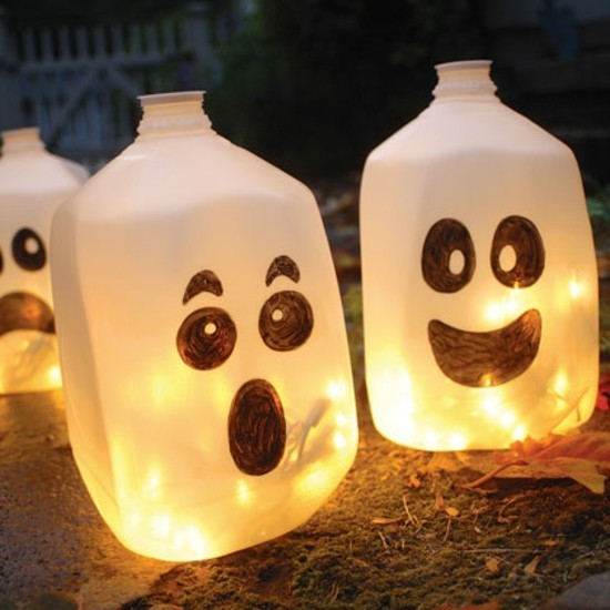 plastikflaschen gespenster basteln halloween