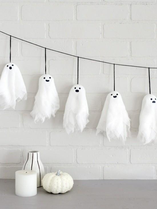 puristische halloween deko gespenster basteln