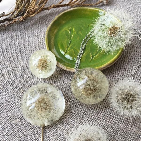 pusteblumen deko und schmuck aus gießharz