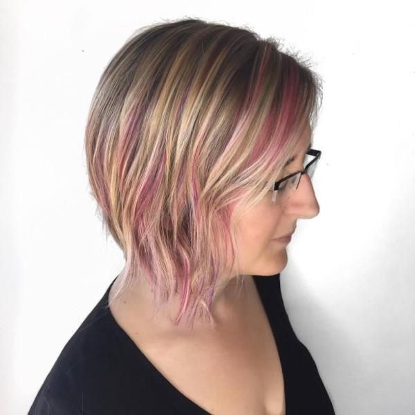 rosa und blond - frisuren dünnes haar