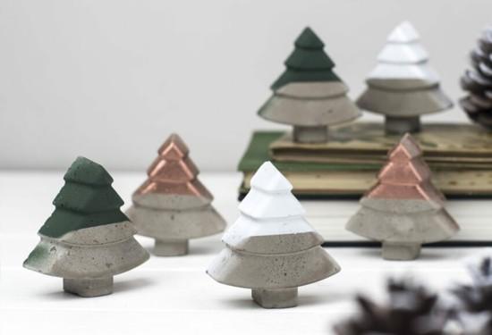 süße tannenbäume beton deko zu weihnachten