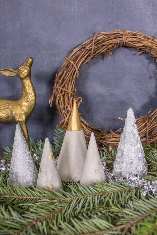 stilvolle beton deko selber machen zu weihnachten