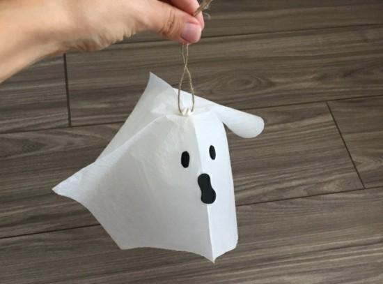 taschentuch gespenster basteln halloween deko