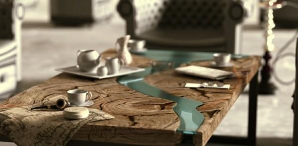 tisch mit gießharz dekorieren