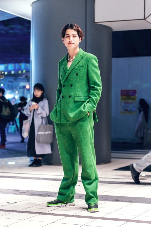 toller grüner Anzug - Modetrends Street Fashion