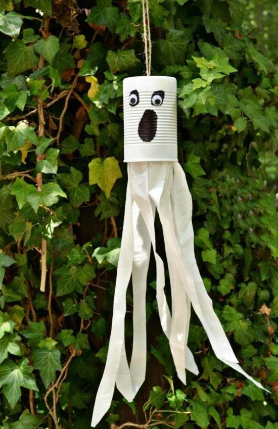 upcycling gespenster basteln zu halloween blechdose