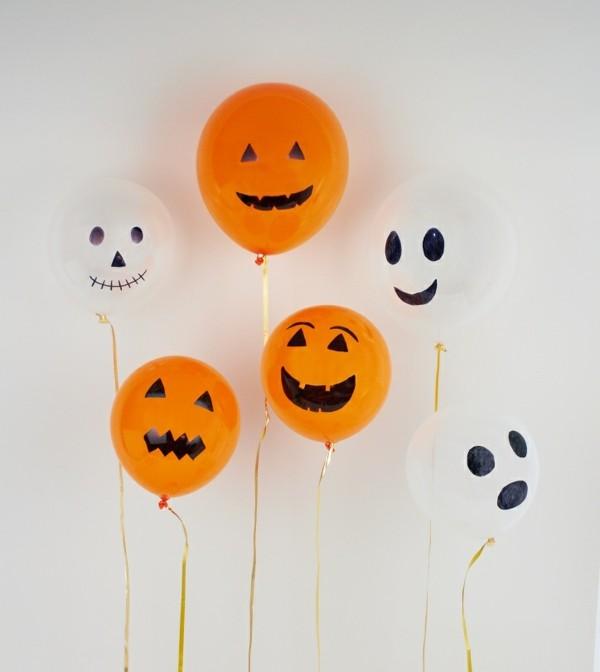 weiße orange luftballons halloween deko ideen