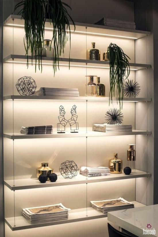 Akzente im Interieur setzen moderner Raumteiler LED Hintergrundbeleuchtung grüne Pflanzen
