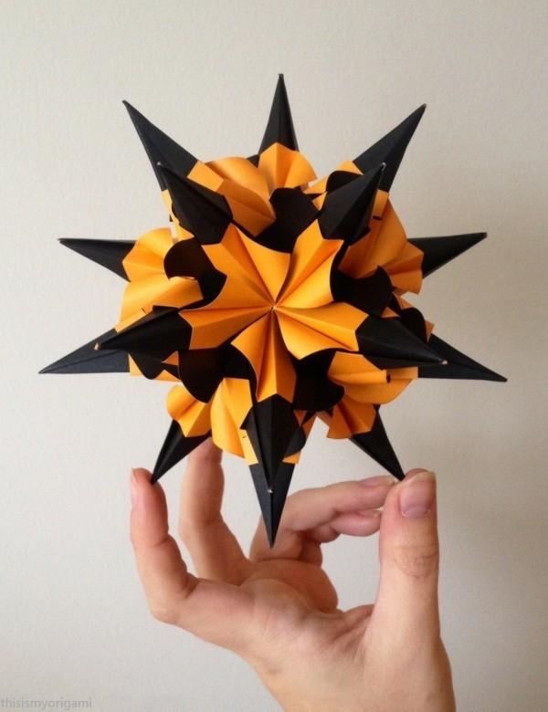Bascetta Sterne basteln Anleitung Weihnachtssterne basteln schwarz orange
