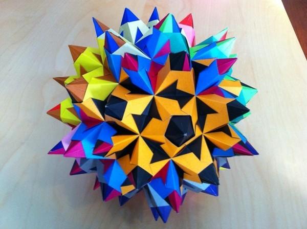 Bascetta Sterne basteln Bascetta Stern Anleitung 3D Bastelideen aus Papier bunt