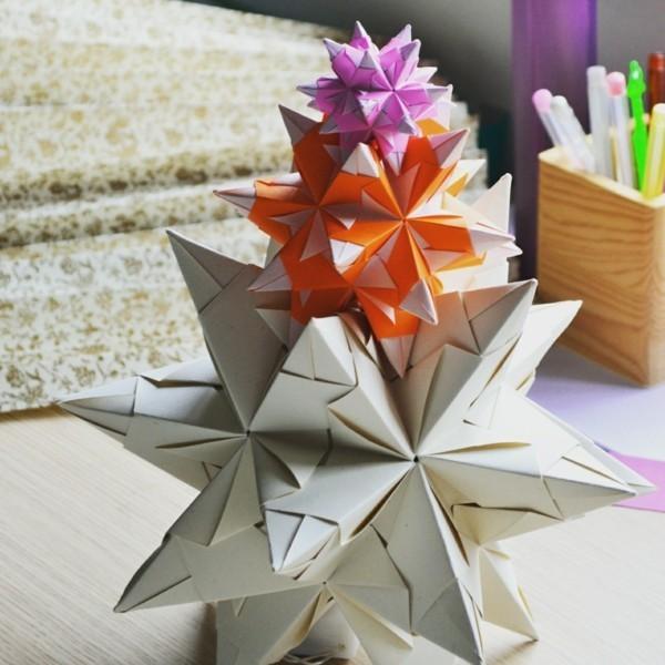 Bascetta Sterne basteln Deko Ideen aus Papier Weihnachtssterne basteln