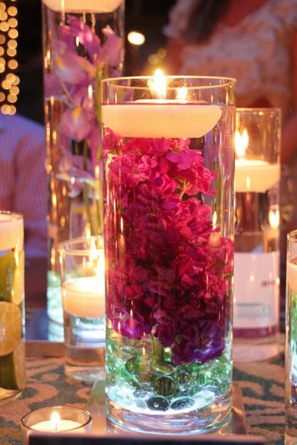 Blumen Kerzendeko Weihnachtsdeko Kerzen dekorieren