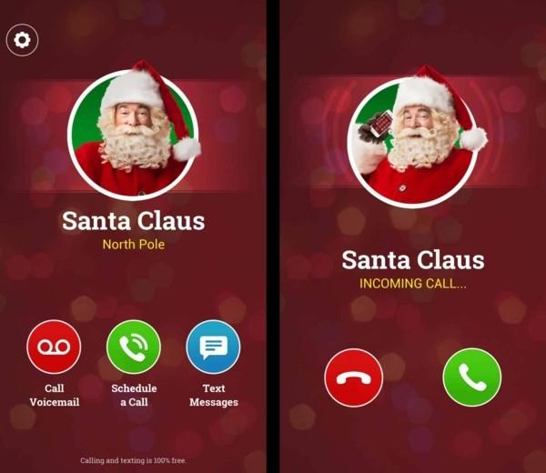 Den Weihnachtsmann anrufen Anruf von Santa Klaus annehmen